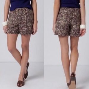 Anthro: Coquille | Doodle Floral Linen Shorts | 0